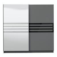 Dulap dormitor Galicia 220, gri grafit + sticla neagra, 2 usi glisante, cu oglinda, 217 x 62.5 x 210 cm, 8C