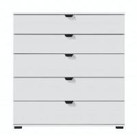 Comoda dormitor Duero 5F 90, cu 5 sertare, alb mat + folie lucioasa alba, 90 x 95 x 40 cm, 1C