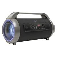 Boxa portabila activa PNI BoomBox BT240, 24 W, Bluetooth, USB, micro SD card slot, Aux in, radio FM, intrare microfon, afisaj LED, functie karaoke, lumini led RGB, negru, microfon
