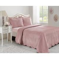 Cuvertura de pat + 2 fete de perna, Dustine, poliester, roz, 240 x 260 cm