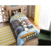 Lenjerie de pat, copii, 1 persoana, Pinguin Party, bumbac, 3 piese, cu imprimeu