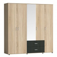 Dulap dormitor Raul D5, stejar bardolino + magia, 5 usi, cu oglinda, 200 x 52 x 206 cm, 5C