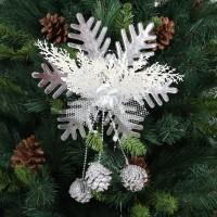 Decoratiune Craciun, fulg de zapada, alb + argintiu, 26 x 26.5 cm, SYLD-5020166
