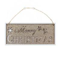 Decoratiune Craciun, Merry Christmas, din lemn, alb + auriu, 9 x 19 cm, SYMZPA-442074