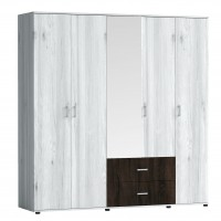 Dulap dormitor Raul D5, gri A480 + sonoma dark, 5 usi, cu oglinda, 200 x 52 x 206 cm, 5C