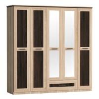 Dulap dormitor Adam D5, stejar bardolino + sonoma dark, 5 usi, cu oglinda, 202 x 51 x 204 cm, 4C