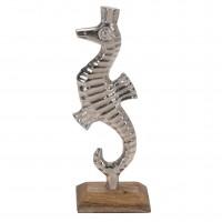 Decoratiune calut de mare A44321530, aluminiu + lemn, argintie, 10 x 5 x 22 cm