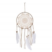 Obiect decorativ Dream Catcher HZ1913860, iuta + material textil, crem + alb, 21 x 1 x 49 cm