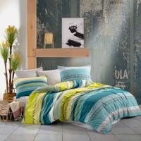 Lenjerie de pat Caressa Luxury, 2 persoane, 100 % bumbac, cu imprimeu, 4 piese