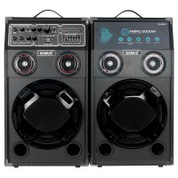 "Sistem audio Samus Twin Sound 10"", 2 boxe active, 200 W, Bluetooth, USB, SD card slot, Aux in, radio FM, intrare microfon, intrare chitara, egalizator, negru, microfon cu fir"