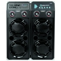 "Sistem audio Samus Twin Sound 20"", 2 boxe active, 300 W, Bluetooth, USB, SD card slot, Aux in, radio FM, intrare microfon, intrare chitara, egalizator, negru, microfon cu fir"