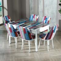 Set masa extensibila cu 6 scaune tapitate Gold 437, bucatarie, model turcoaz + alb, 3C