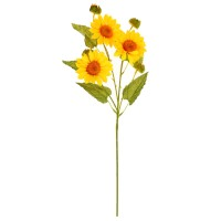 Floare artificiala C07, panza + plastic, galben