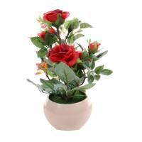 Floare artificiala G1102, trandafir in ghiveci, rosu, H 24 cm