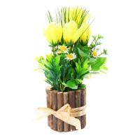 Aranjament floral artificial 371KGY, lalele galbene, panza + plastic + lemn