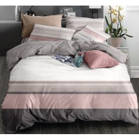 Lenjerie de pat 75A2279, 2 persoane, microfibra, roz, 4 piese