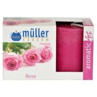 Lumanare decorativa Muller, tip stalp, timp ardere 9 ore, aroma trandafir, set 2 bucati