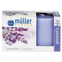 Lumanare decorativa Muller, tip stalp, timp ardere 9 ore, aroma lavanda, set 2 bucati