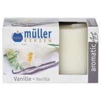 Lumanare decorativa Muller, tip stalp, timp ardere 9 ore, aroma vanilie, set 2 bucati