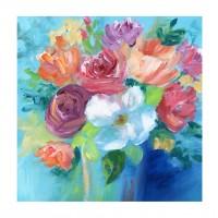 Tablou canvas Decor 04553, Flori pe fundal albastru, panza + sasiu, 60 x 60 cm
