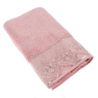 Prosop baie Lace, bumbac, roz, 70 x 140 cm