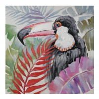 Tablou canvas DL-207070, pasari in decor tropical, panza + sasiu lemn, 70 x 70 cm