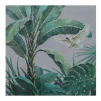 Tablou canvas F190982-10, pasari in peisaj tropical, panza + sasiu lemn, 70 x 70 cm