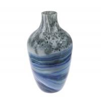Vaza decorativa 166-69, sticla, albastru + gri, H 29.5 cm