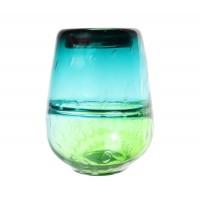 Vaza decorativa 166-78, sticla, turcoaz + verde, H 24 cm