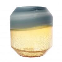Vaza sticla decorativa, 166-144, cenusiu + auriu, H 22 cm