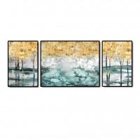 Tablou canvas TA20-AP0170, 3 piese, natura, panza, cu rama, 120 x 40 cm