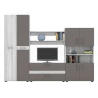 Biblioteca living Ania, gri A480 + gri piatra, 250 cm, 4C