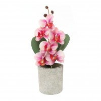 Aranjament floral artificial FM208-07, orhidee, panza + plastic, roz, 30 cm