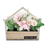 Aranjament floral artificial FM208-11, panza + plastic, roz, 18 cm