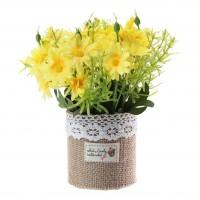 Aranjament floral artificial FM208-14, panza + plastic, galben, 20 cm
