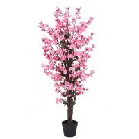 Aranjament floral artificial JWT2856, plastic, roz, 120 cm