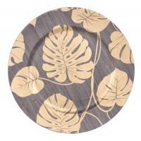 Platou decorativ Koopman, AKX100140, polipropilena, maro + auriu, 33 cm