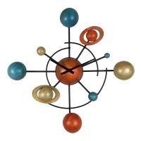 Ceas de perete YQM034, analog, model planete, metal, 78 x 13 x 78 cm
