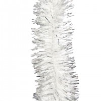 Beteala brad Craciun, alb + argintiu, 0510, D 5 cm, 2 m