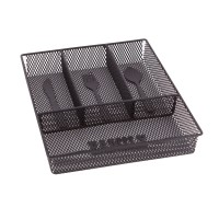Suport tacamuri pentru sertar, MG071B, metal cromat, negru, 33 x 26 x 4.8 cm