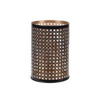 Suport lumanare, Koopman A04932660, metalic, negru + auriu, 14 x 10 cm
