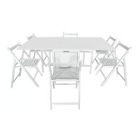 Set masa plianta cu 6 scaune 906, bucatarie, alb, 1C