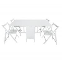Set masa plianta cu 4 scaune 904, bucatarie, alb, 1C