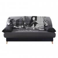 Husa New York pentru canapea Luxeil / Scandi, poliester gri + negru