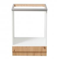 Corp inferior bucatarie Adela 60 UR, cu blat, pentru cuptor, alb mat + stejar artisan, 60 x 60 x 86 cm, 2C