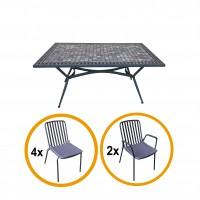 Set masa dreptunghiulara, cu 6 scaune, pentru gradina, Viena, din metal cu mozaic