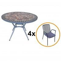 Set masa rotunda, cu 4 scaune fixe, pentru gradina, Viena, din metal cu mozaic