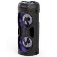 Boxa portabila activa Akai ABTS-530BT, 5 W, Bluetooth, USB, micro SD card slot, intrare microfon, lumini difuzor, neagra