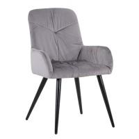 Scaun bucatarie / living fix Ferrell, tapitat, metal negru + material textil gri