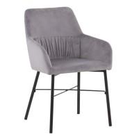 Scaun bucatarie / living fix Jeffries, tapitat, metal negru + material textil gri